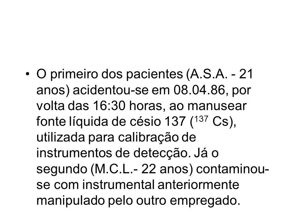 O primeiro dos pacientes (A.S.A. - 21 anos) acidentou-se em 08.04.86, por volta das 16:30 horas, ao manusear fonte líquida de césio 137 ( 137 Cs), uti