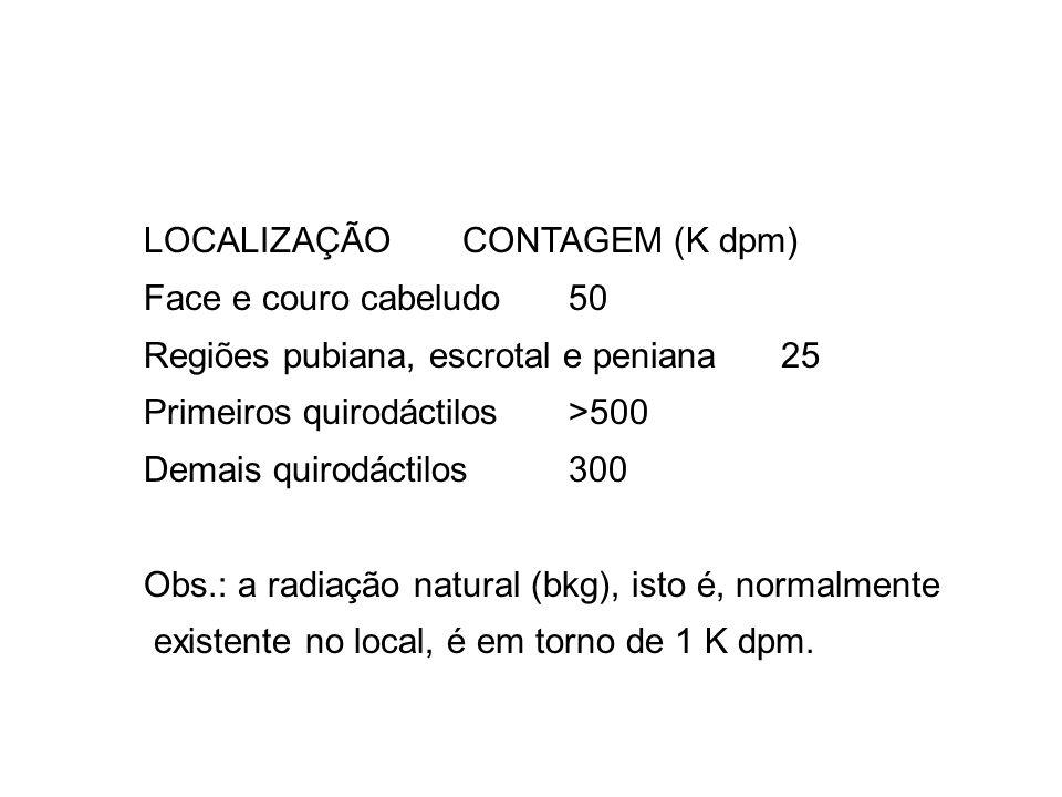 LOCALIZAÇÃOCONTAGEM (K dpm) Face e couro cabeludo50 Regiões pubiana, escrotal e peniana25 Primeiros quirodáctilos>500 Demais quirodáctilos300 Obs.: a