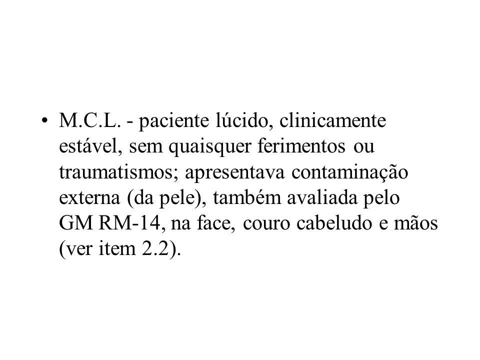 M.C.L. - paciente lúcido, clinicamente estável, sem quaisquer ferimentos ou traumatismos; apresentava contaminação externa (da pele), também avaliada