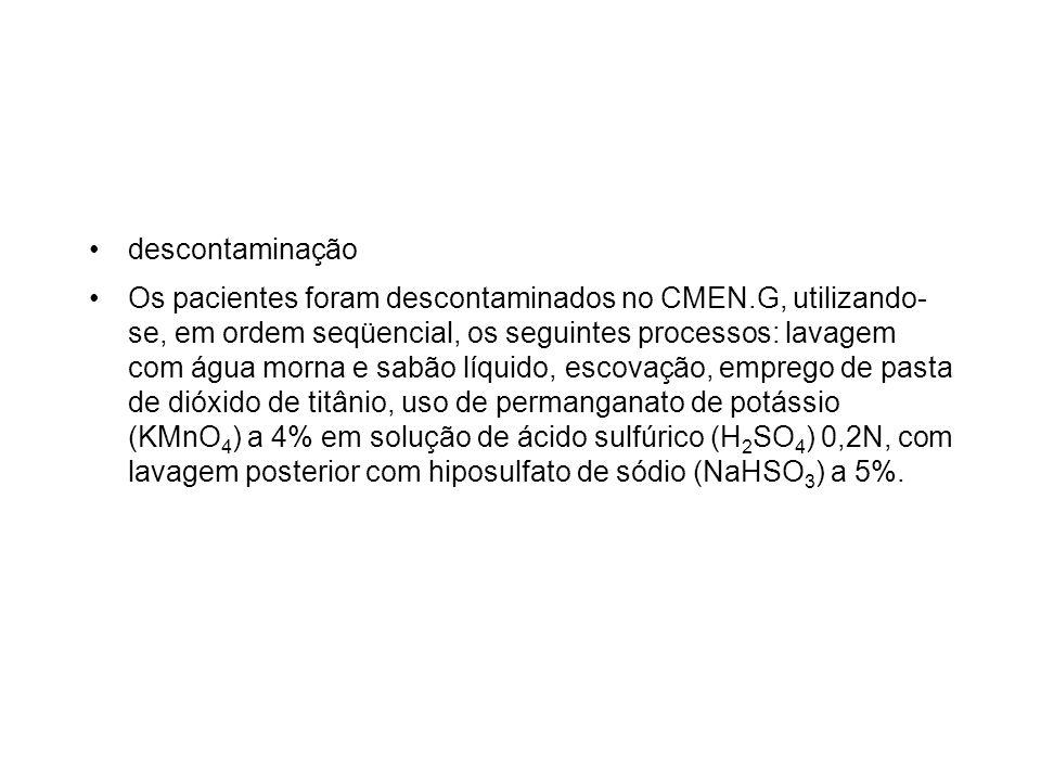 descontaminação Os pacientes foram descontaminados no CMEN.G, utilizando- se, em ordem seqüencial, os seguintes processos: lavagem com água morna e sa