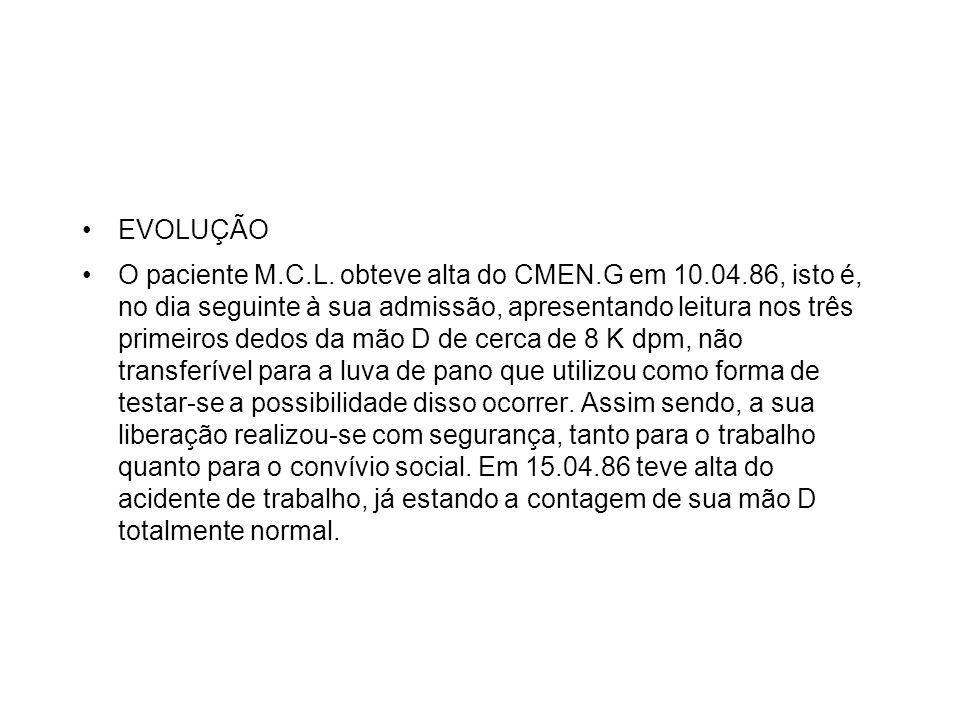 EVOLUÇÃO O paciente M.C.L. obteve alta do CMEN.G em 10.04.86, isto é, no dia seguinte à sua admissão, apresentando leitura nos três primeiros dedos da