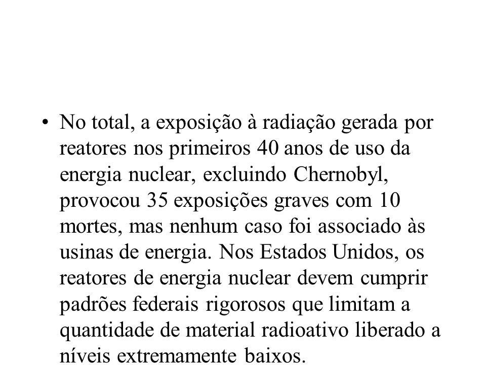 No total, a exposição à radiação gerada por reatores nos primeiros 40 anos de uso da energia nuclear, excluindo Chernobyl, provocou 35 exposições grav