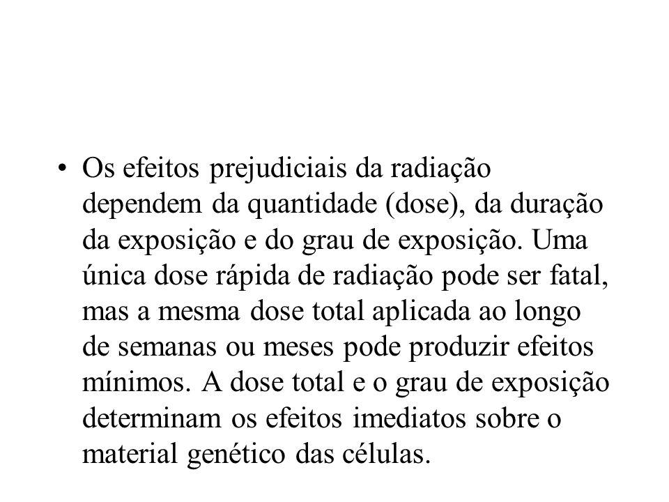 Os efeitos prejudiciais da radiação dependem da quantidade (dose), da duração da exposição e do grau de exposição. Uma única dose rápida de radiação p