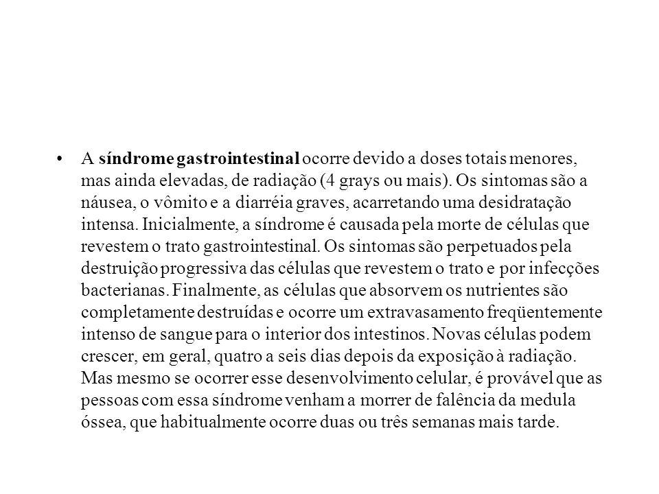 A síndrome gastrointestinal ocorre devido a doses totais menores, mas ainda elevadas, de radiação (4 grays ou mais). Os sintomas são a náusea, o vômit