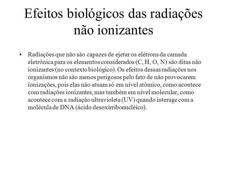 Efeitos biológicos das radiações não ionizantes Radiações que não são capazes de ejetar os elétrons da camada eletrônica para os elementos considerado