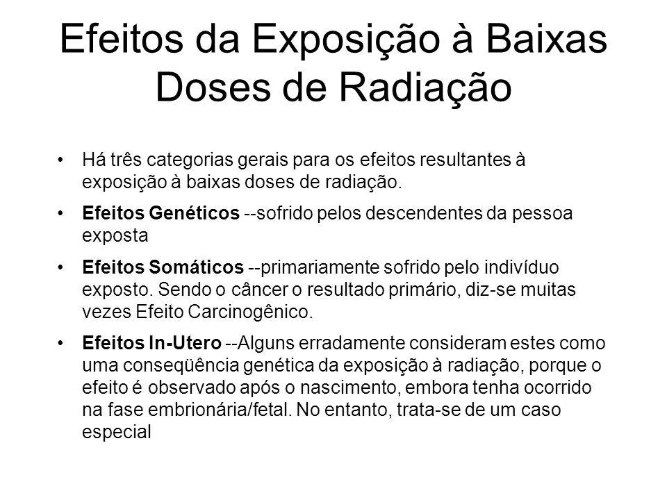 Efeitos da Exposição à Baixas Doses de Radiação Há três categorias gerais para os efeitos resultantes à exposição à baixas doses de radiação. Efeitos