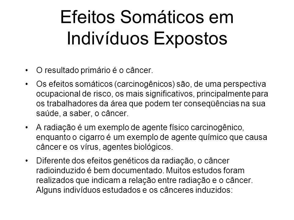 Efeitos Somáticos em Indivíduos Expostos O resultado primário é o câncer. Os efeitos somáticos (carcinogênicos) são, de uma perspectiva ocupacional de