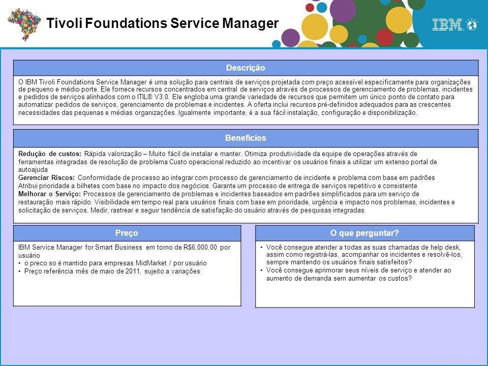 Preço IBM Service Manager for Smart Business em torno de R$6.000,00 por usuário o preco so é mantido para empresas MidMarket / por usuário Preço refer