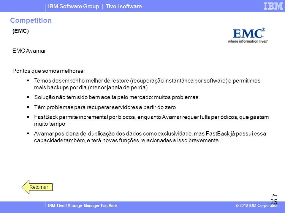 IBM Software Group | Tivoli software IBM Tivoli Storage Manager FastBack © 2010 IBM Corporation Competition (EMC) EMC Avamar Pontos que somos melhores