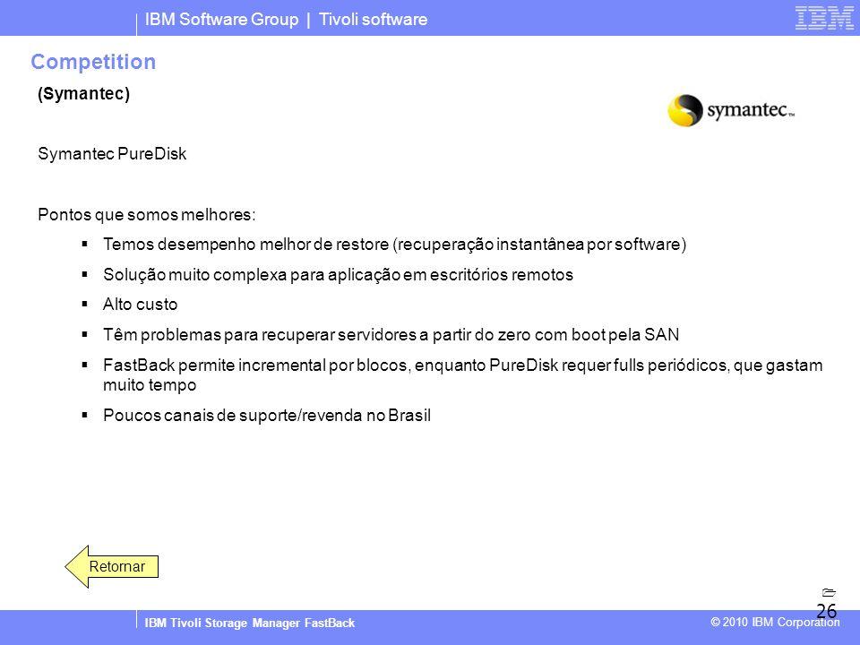 IBM Software Group | Tivoli software IBM Tivoli Storage Manager FastBack © 2010 IBM Corporation Competition (Symantec) Symantec PureDisk Pontos que so