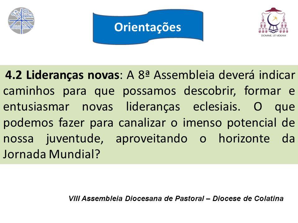 VIII Assembleia Diocesana de Pastoral – Diocese de Colatina 4.2 Lideranças novas: A 8ª Assembleia deverá indicar caminhos para que possamos descobrir,