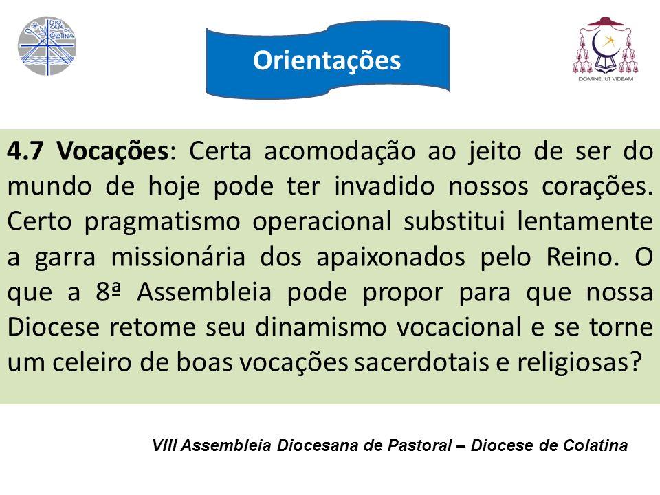 VIII Assembleia Diocesana de Pastoral – Diocese de Colatina 4.7 Vocações: Certa acomodação ao jeito de ser do mundo de hoje pode ter invadido nossos c