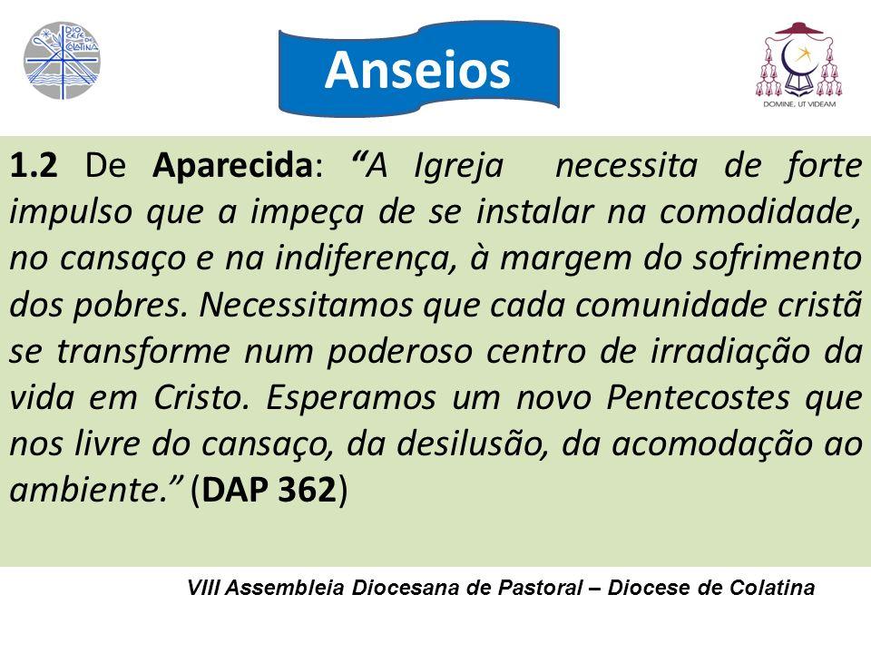 VIII Assembleia Diocesana de Pastoral – Diocese de Colatina 1.2 De Aparecida: A Igreja necessita de forte impulso que a impeça de se instalar na comod
