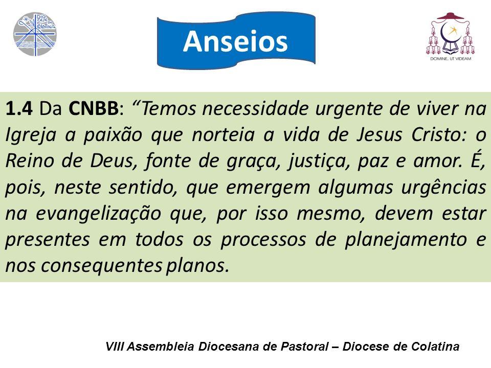 VIII Assembleia Diocesana de Pastoral – Diocese de Colatina 1.4 Da CNBB: Temos necessidade urgente de viver na Igreja a paixão que norteia a vida de J
