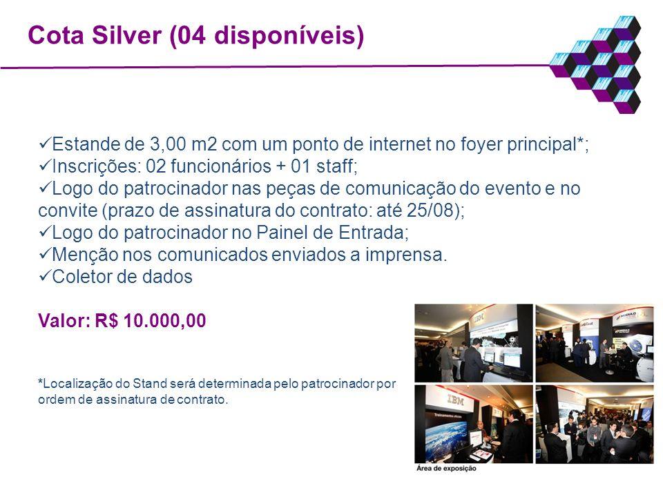 Cota Silver (04 disponíveis) Estande de 3,00 m2 com um ponto de internet no foyer principal*; Inscrições: 02 funcionários + 01 staff; Logo do patrocin