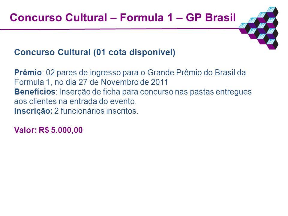 Concurso Cultural – Formula 1 – GP Brasil Concurso Cultural (01 cota disponível) Prêmio: 02 pares de ingresso para o Grande Prêmio do Brasil da Formul