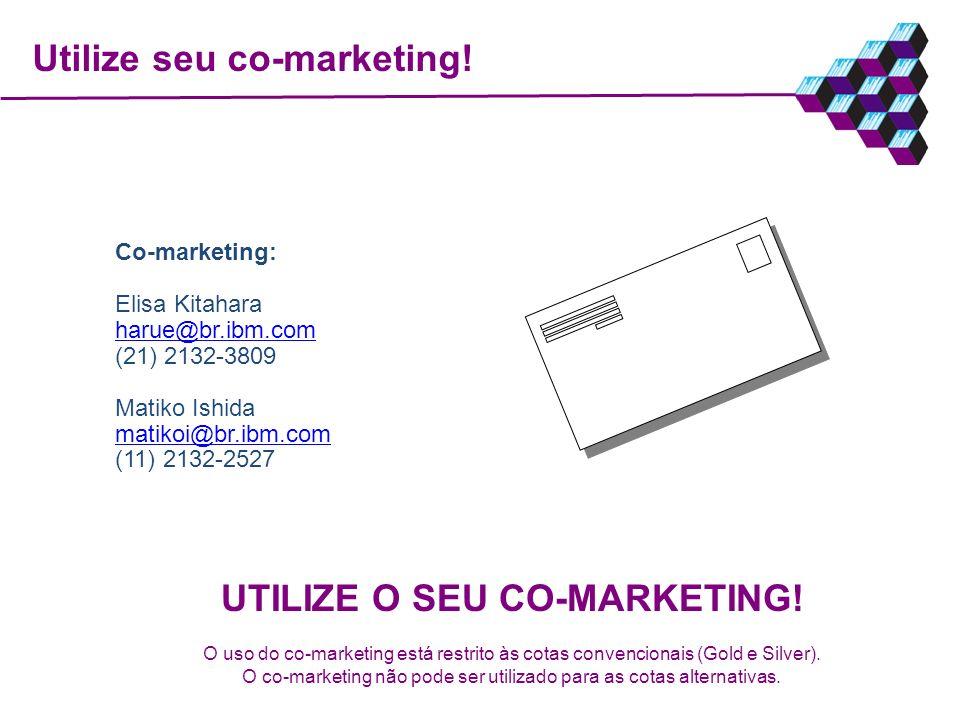 Utilize seu co-marketing! Co-marketing: Elisa Kitahara harue@br.ibm.com (21) 2132-3809 Matiko Ishida matikoi@br.ibm.com (11) 2132-2527 UTILIZE O SEU C