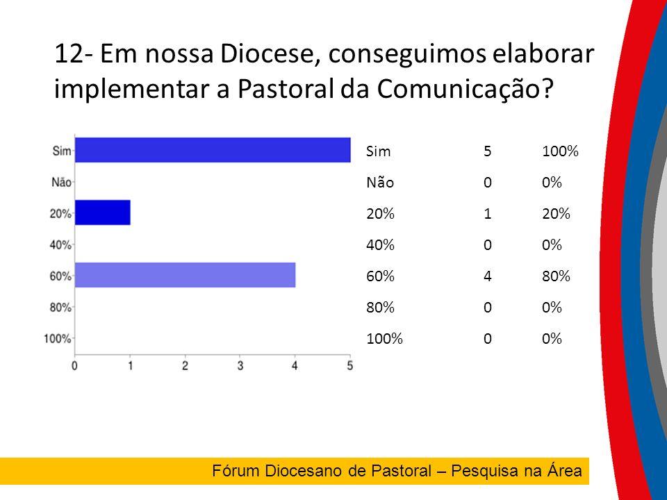 12- Em nossa Diocese, conseguimos elaborar e implementar a Pastoral da Comunicação.