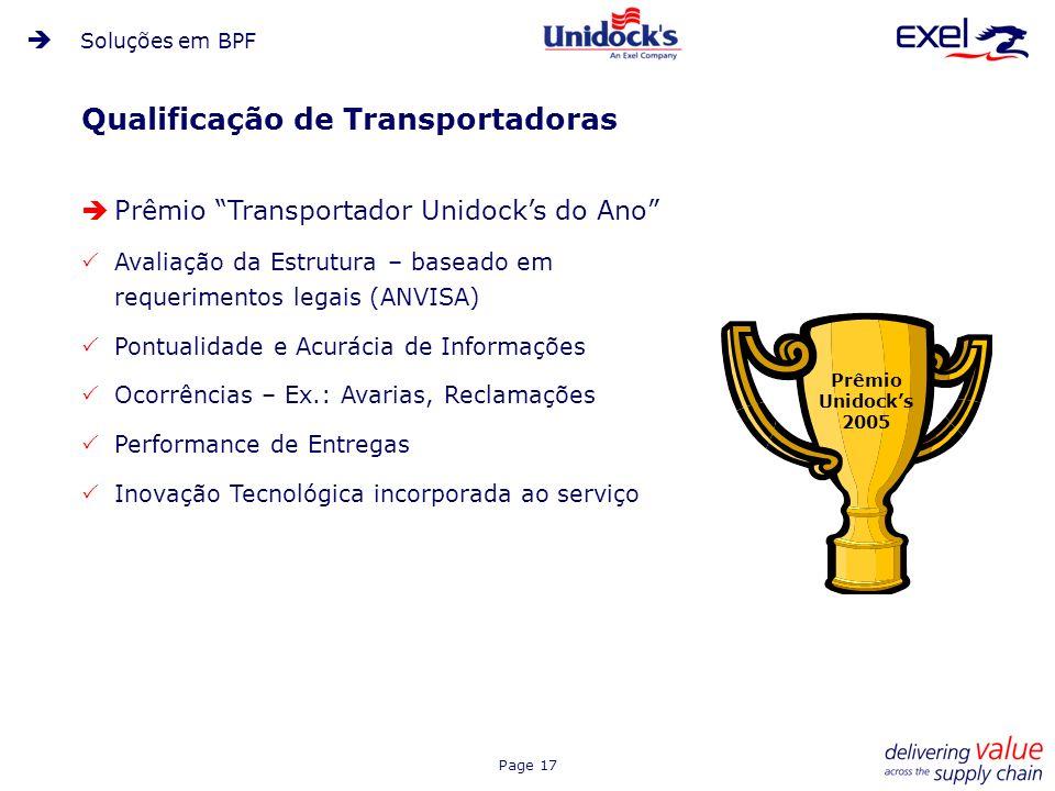 Page 17 Qualificação de Transportadoras Prêmio Transportador Unidocks do Ano Avaliação da Estrutura – baseado em requerimentos legais (ANVISA) Pontual