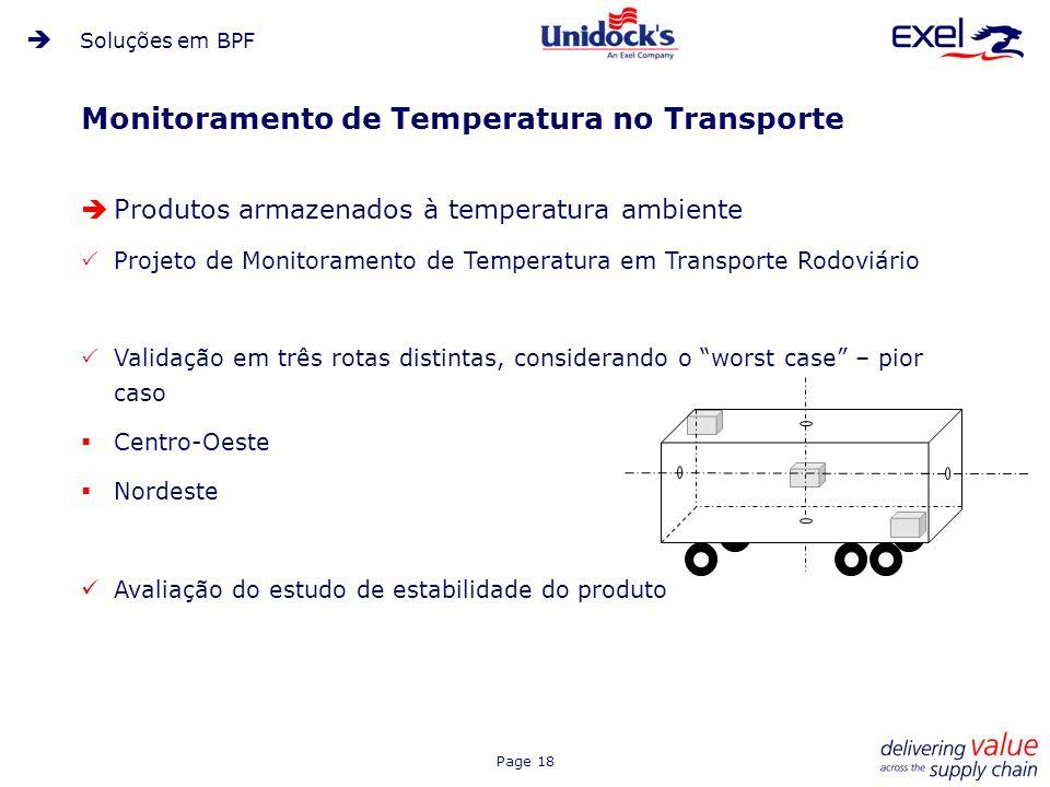 Page 18 Monitoramento de Temperatura no Transporte Produtos armazenados à temperatura ambiente Projeto de Monitoramento de Temperatura em Transporte R