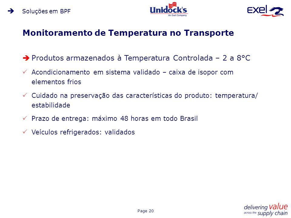 Page 20 Monitoramento de Temperatura no Transporte Produtos armazenados à Temperatura Controlada – 2 a 8°C Acondicionamento em sistema validado – caix