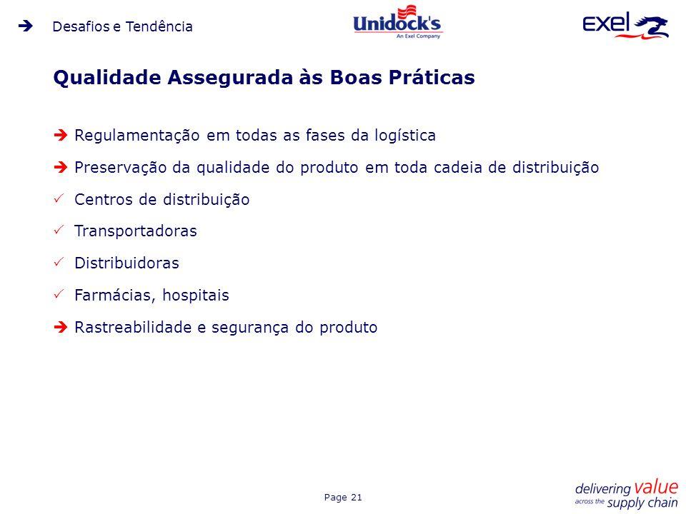 Page 21 Qualidade Assegurada às Boas Práticas Regulamentação em todas as fases da logística Preservação da qualidade do produto em toda cadeia de dist