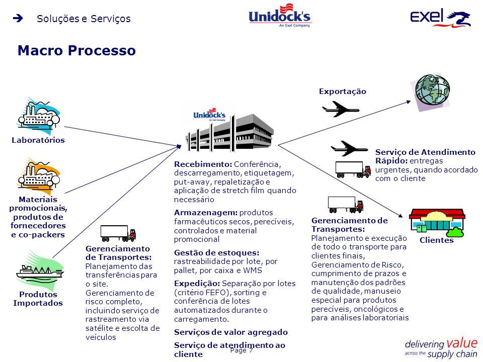 Page 8 Processo de Separação Procedimentos específicos para a separação de: -Caixas completas -Unidades -Medicamentos controlados -Perecíveis -Materiais promocionais Sorter automatizado empregado para processar e transferir produtos às docas de carregamento.