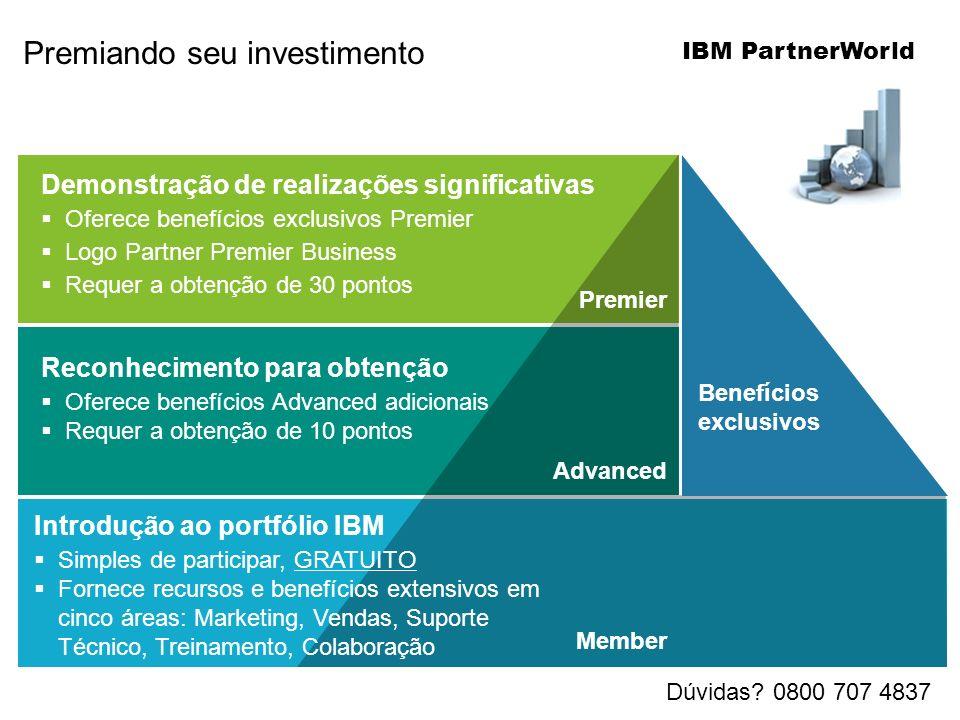 Demonstração de realizações significativas Oferece benefícios exclusivos Premier Logo Partner Premier Business Requer a obtenção de 30 pontos Reconhecimento para obtenção Oferece benefícios Advanced adicionais Requer a obtenção de 10 pontos Premier Advanced Member Benefícios exclusivos Introdução ao portfólio IBM Simples de participar, GRATUITO Fornece recursos e benefícios extensivos em cinco áreas: Marketing, Vendas, Suporte Técnico, Treinamento, Colaboração Premiando seu investimento IBM PartnerWorld Dúvidas.