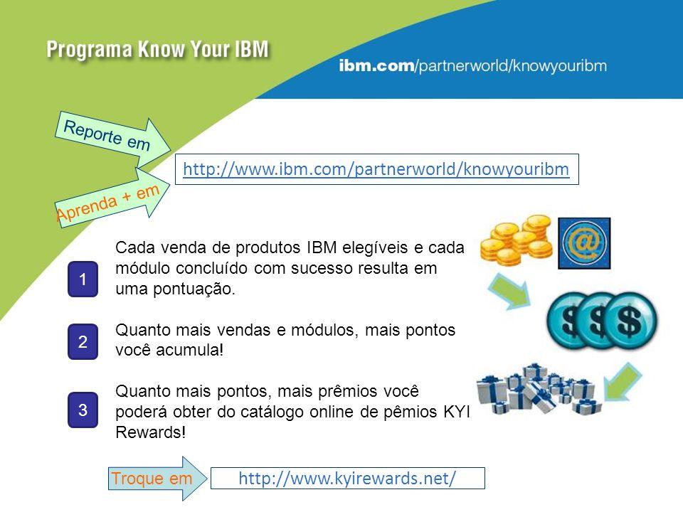 http://www.ibm.com/partnerworld/knowyouribm http://www.kyirewards.net/ Cada venda de produtos IBM elegíveis e cada módulo concluído com sucesso resulta em uma pontuação.