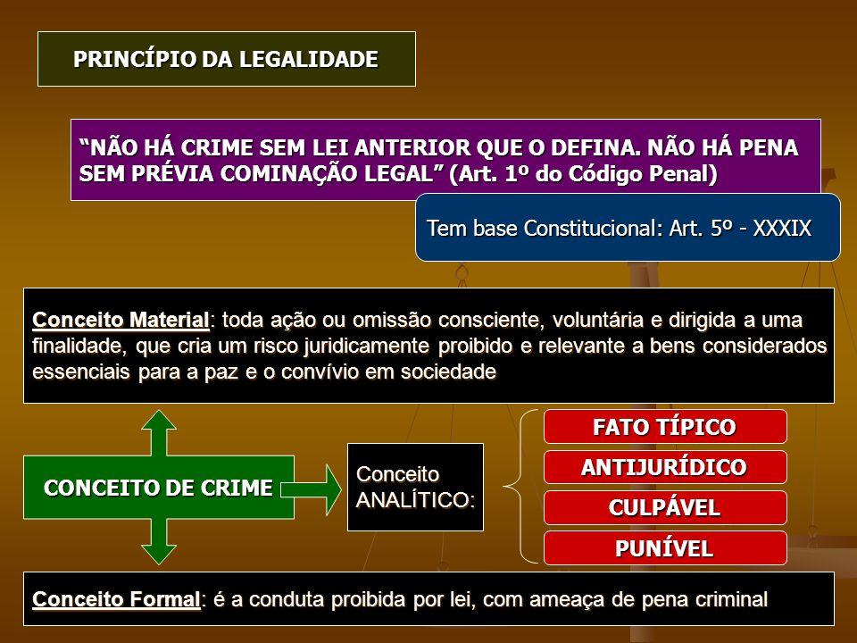 PRINCÍPIO DA LEGALIDADE NÃO HÁ CRIME SEM LEI ANTERIOR QUE O DEFINA. NÃO HÁ PENA SEM PRÉVIA COMINAÇÃO LEGAL (Art. 1º do Código Penal) Tem base Constitu
