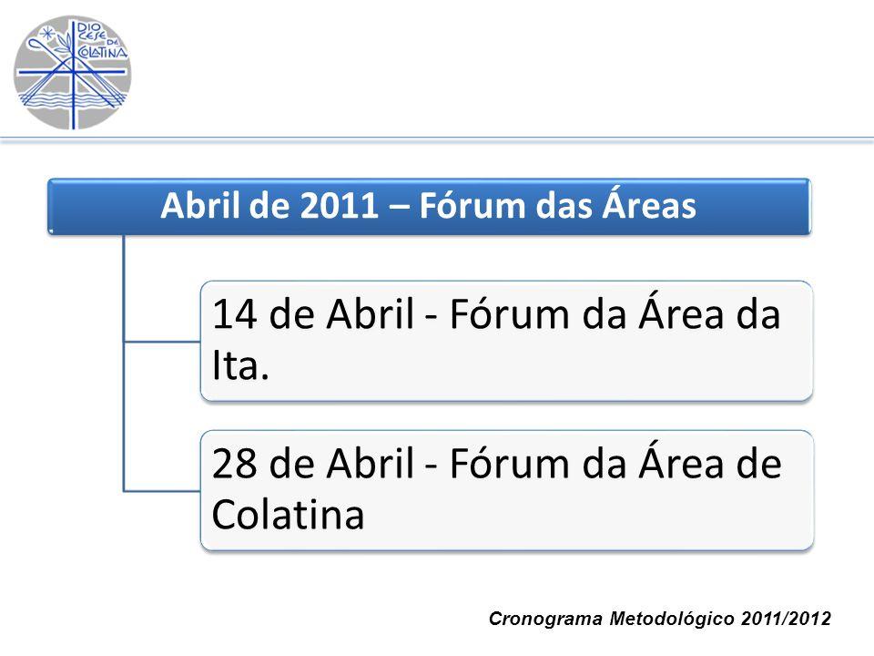 Abril de 2011 – Fórum das Áreas 14 de Abril - Fórum da Área da Ita. 28 de Abril - Fórum da Área de Colatina Cronograma Metodológico 2011/2012