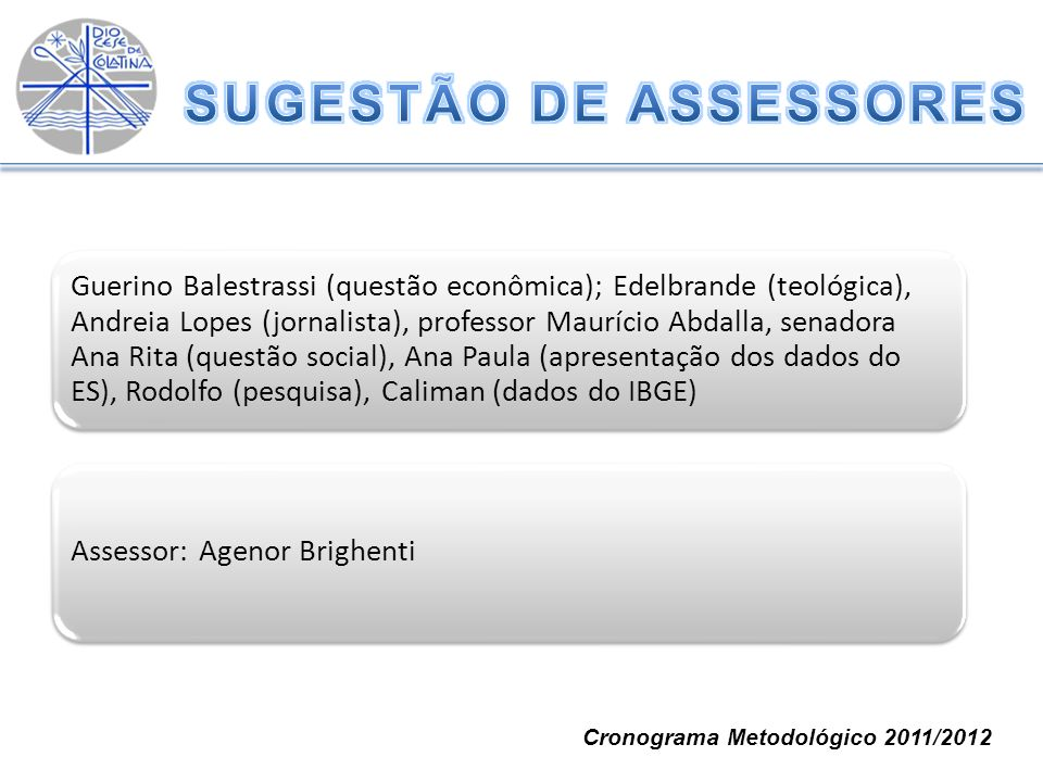 Guerino Balestrassi (questão econômica); Edelbrande (teológica), Andreia Lopes (jornalista), professor Maurício Abdalla, senadora Ana Rita (questão so