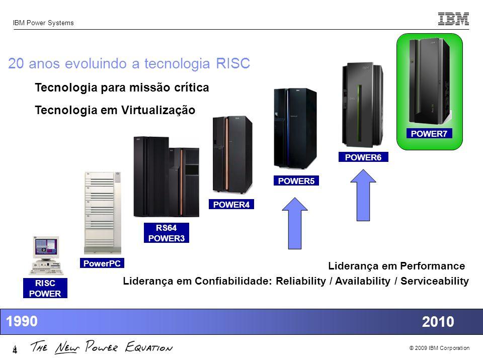 © 2009 IBM Corporation IBM Power Systems 4 4 20 anos evoluindo a tecnologia RISC POWER6 POWER5 POWER4 RS64 POWER3 PowerPC RISC POWER 1990 2010 Lideran