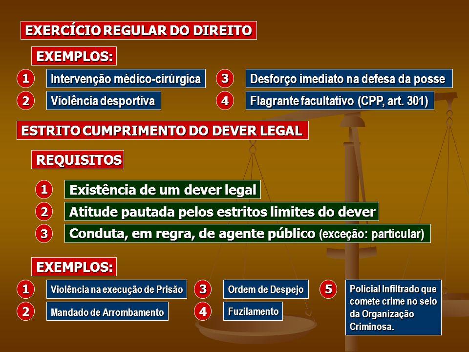 ESTRITO CUMPRIMENTO DO DEVER LEGAL EXERCÍCIO REGULAR DO DIREITO Intervenção médico-cirúrgica Violência desportiva Desforço imediato na defesa da posse