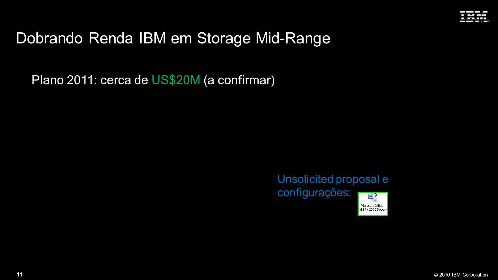 © 2010 IBM Corporation 11 Dobrando Renda IBM em Storage Mid-Range Plano 2011: cerca de US$20M (a confirmar) Unsolicited proposal e configurações: