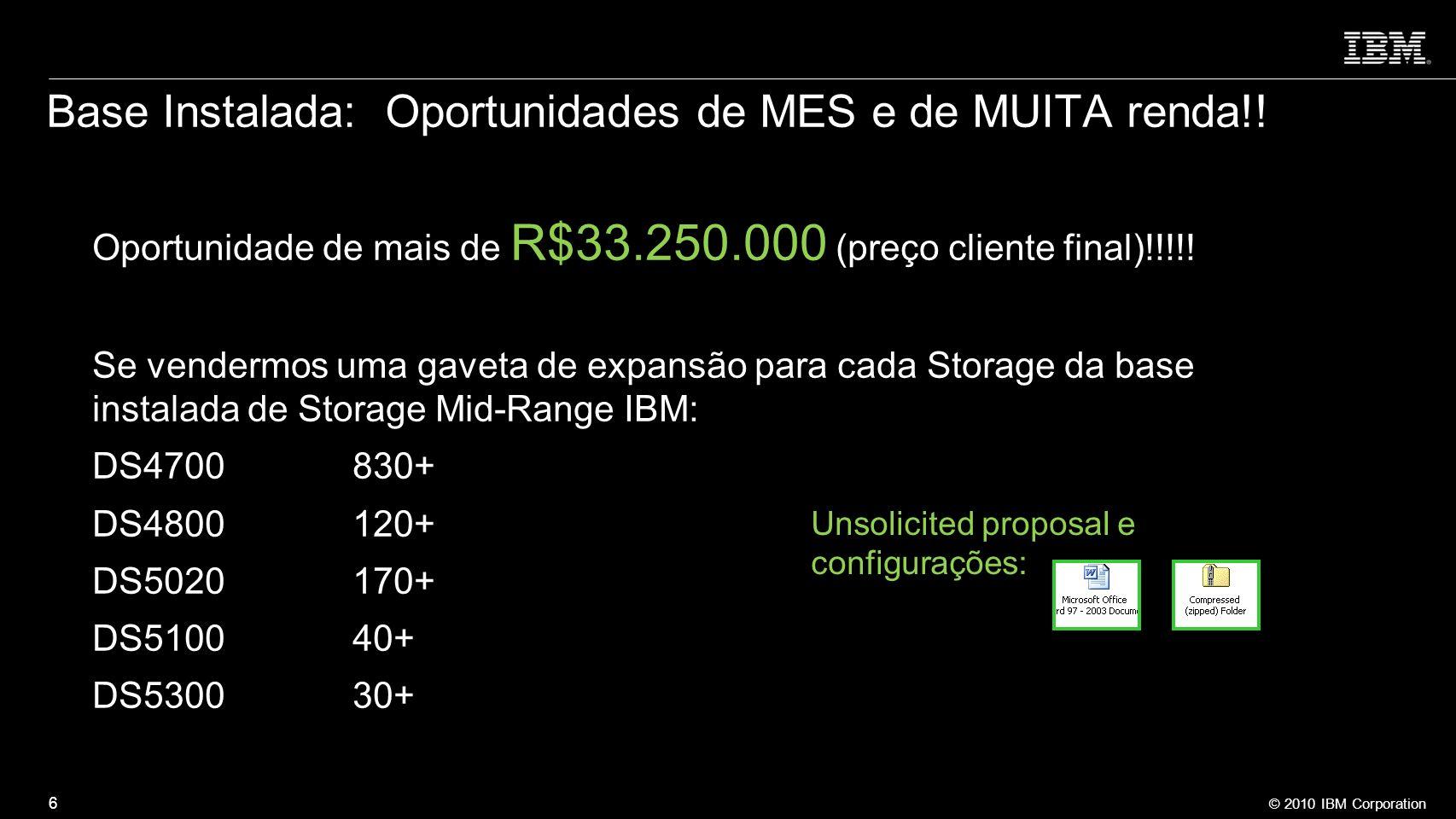 © 2010 IBM Corporation 6 Base Instalada: Oportunidades de MES e de MUITA renda!! Oportunidade de mais de R$33.250.000 (preço cliente final)!!!!! Se ve