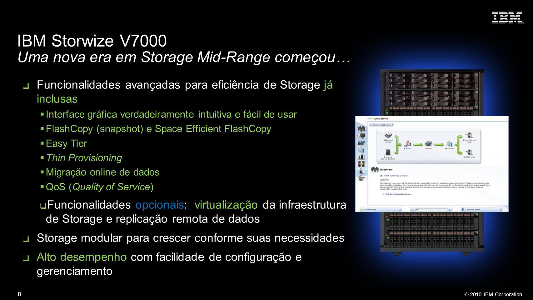 © 2010 IBM Corporation 8 Funcionalidades avançadas para eficiência de Storage já inclusas Interface gráfica verdadeiramente intuitiva e fácil de usar
