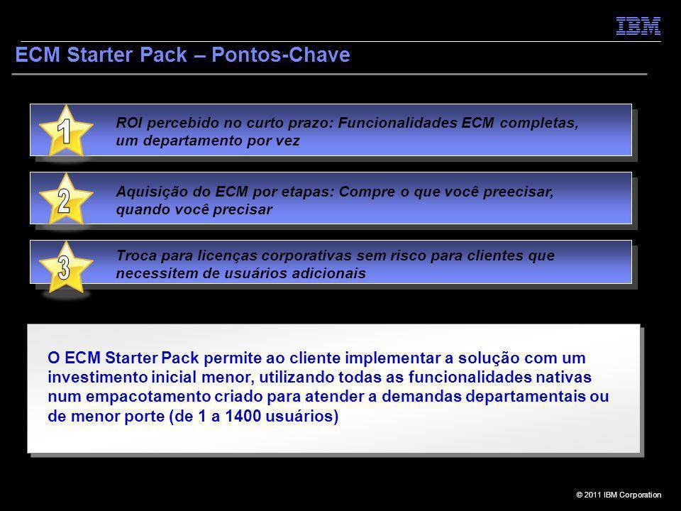 © 2011 IBM Corporation ECM Starter Pack – Pontos-Chave ROI percebido no curto prazo: Funcionalidades ECM completas, um departamento por vez Troca para