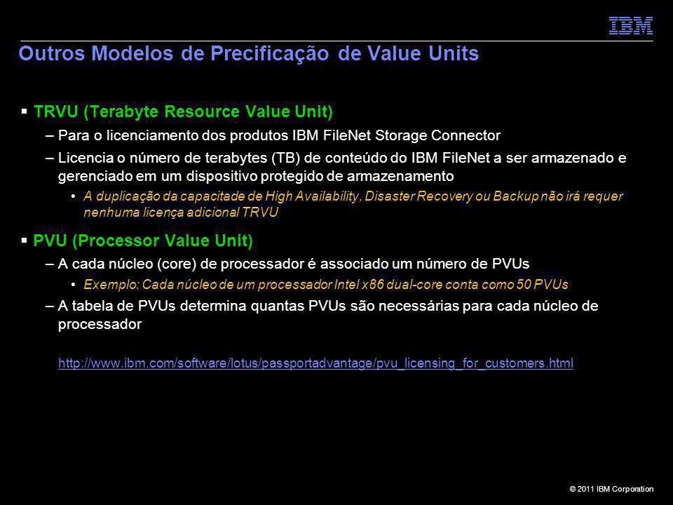© 2011 IBM Corporation Outros Modelos de Precificação de Value Units TRVU (Terabyte Resource Value Unit) –Para o licenciamento dos produtos IBM FileNe