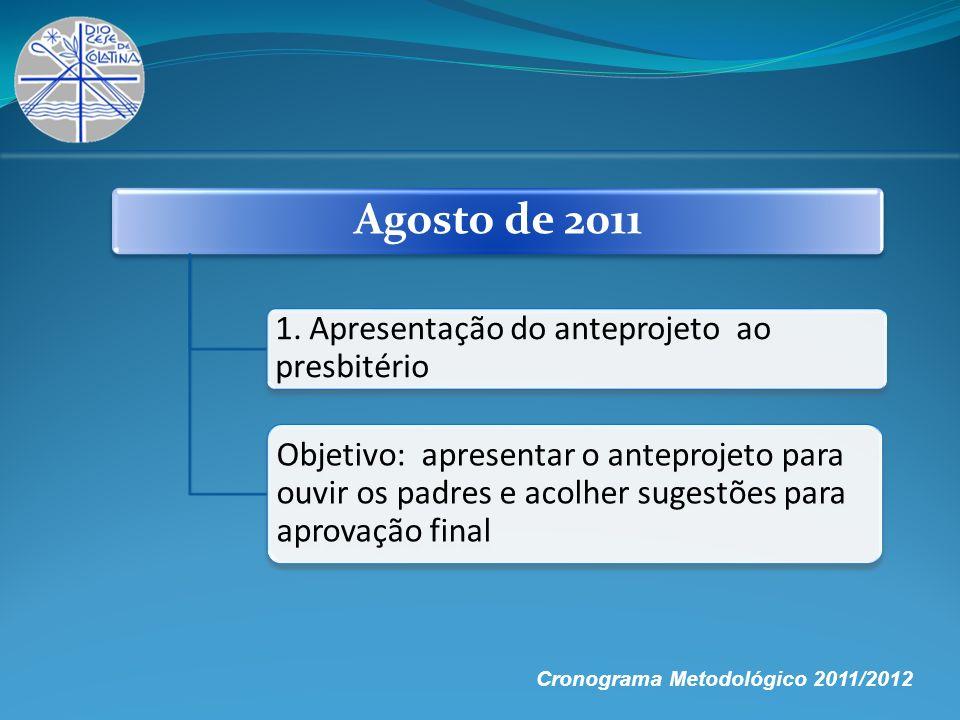 Agosto de 2011 1. Apresentação do anteprojeto ao presbitério Objetivo: apresentar o anteprojeto para ouvir os padres e acolher sugestões para aprovaçã