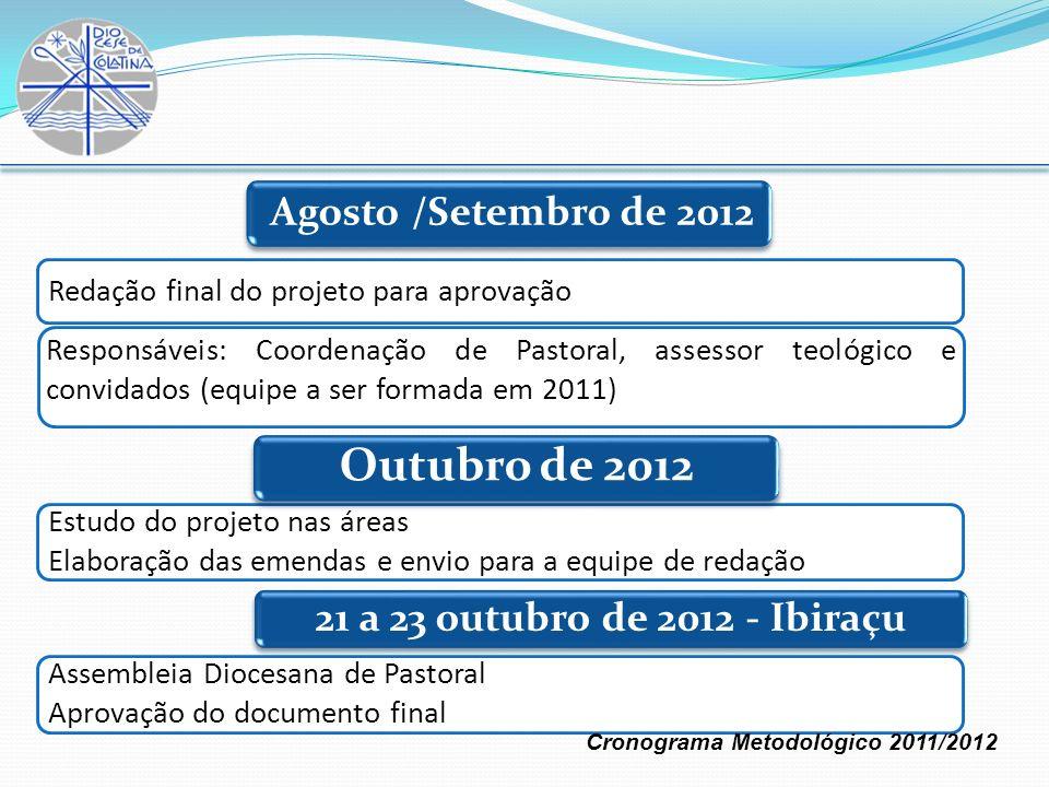 Redação final do projeto para aprovação Responsáveis: Coordenação de Pastoral, assessor teológico e convidados (equipe a ser formada em 2011) Estudo d