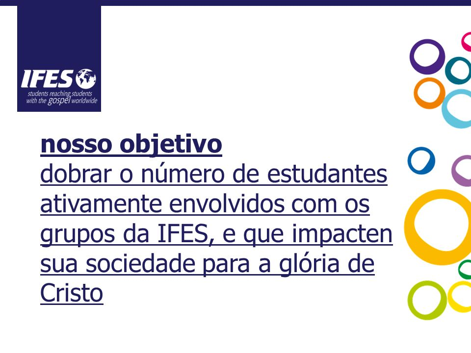 nosso objetivo dobrar o número de estudantes ativamente envolvidos com os grupos da IFES, e que impacten sua sociedade para a glória de Cristo