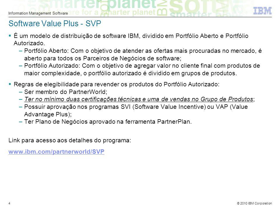 © 2010 IBM Corporation Information Management Software 4 Software Value Plus - SVP É um modelo de distribuição de software IBM, dividido em Portfólio Aberto e Portfólio Autorizado.