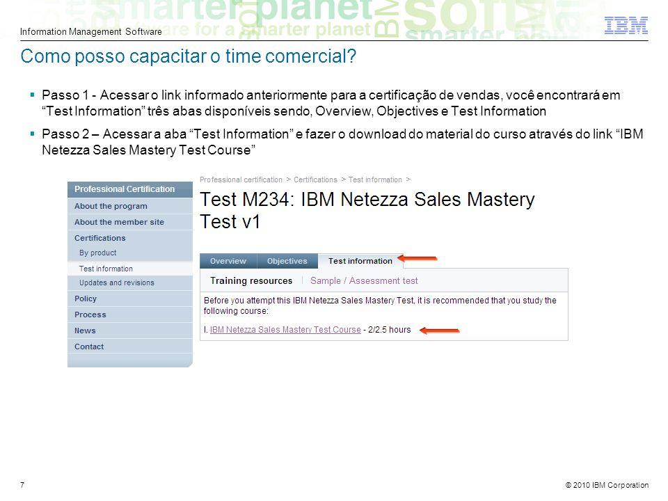 © 2010 IBM Corporation Information Management Software 7 Como posso capacitar o time comercial.
