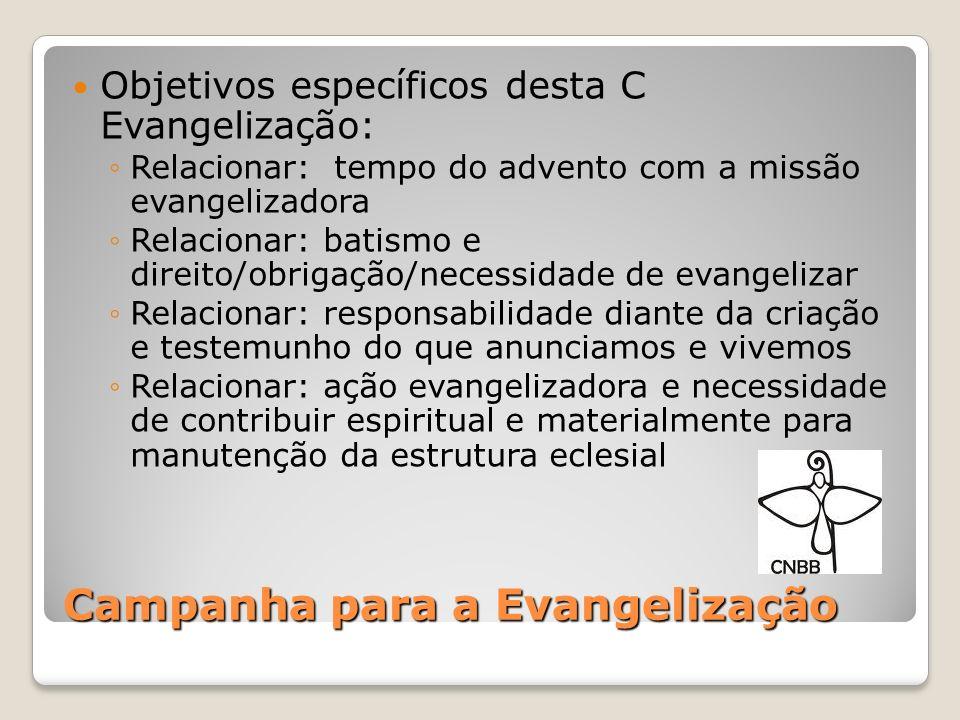 Objetivos específicos desta C Evangelização: Relacionar: tempo do advento com a missão evangelizadora Relacionar: batismo e direito/obrigação/necessid