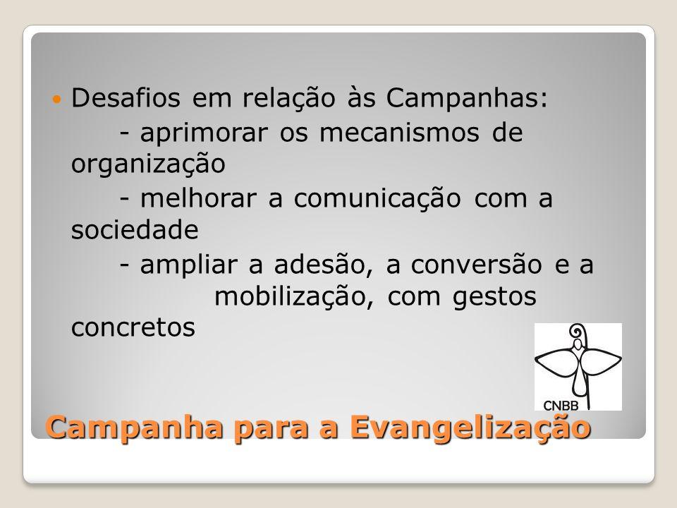 Campanha para a Evangelização O segundo: Transformar as Campanhas em momentos fortes de educação em vista da solidariedade Que provoquem a conversão e mobilizem pessoas para que cresçam humanamente e na vivência da fé.