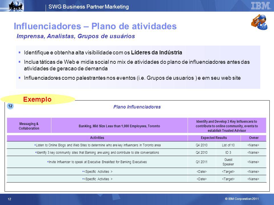 SWG Business Partner Marketing © IBM Corporation 2011 12 Influenciadores – Plano de atividades Identifique e obtenha alta visibilidade com os Líderes