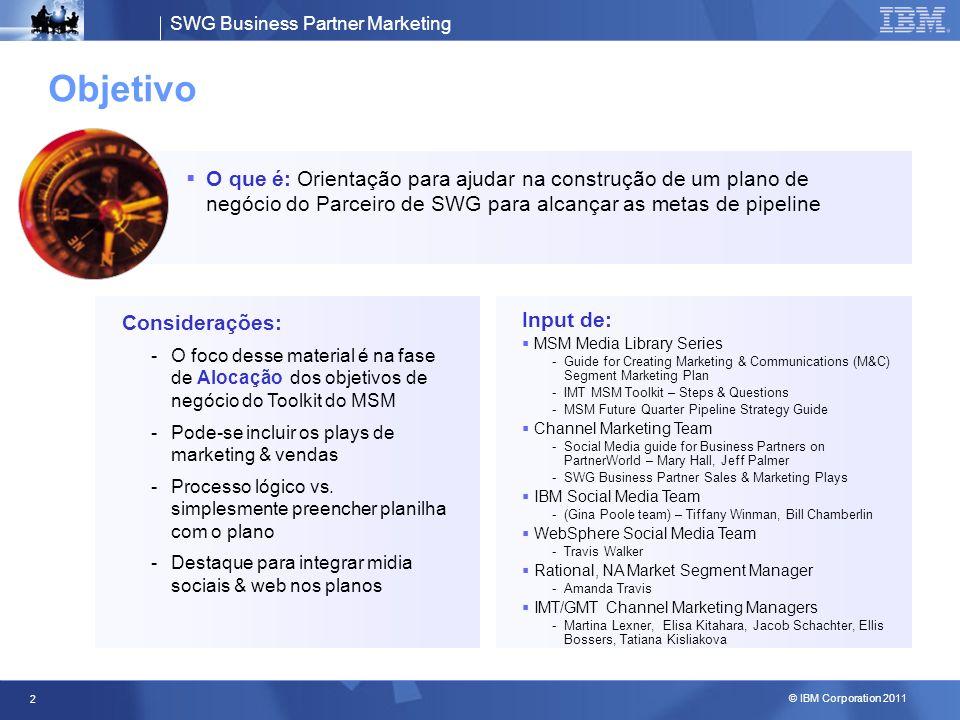 SWG Business Partner Marketing © IBM Corporation 2011 3 Plano de Go-to-Market com foco na Alocação Objetivos do Negócio Parceiro Negócio Ação SELECIONAR Quais segmentos de mercado são mais atrativos.