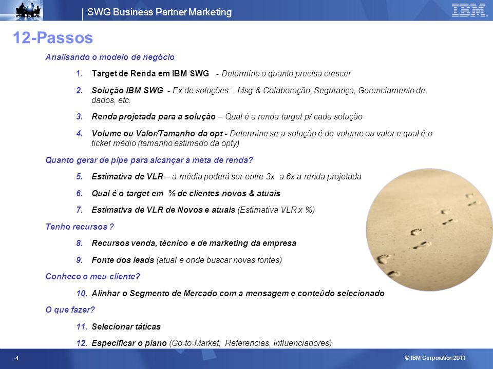SWG Business Partner Marketing © IBM Corporation 2011 4 12-Passos Analisando o modelo de negócio 1.Target de Renda em IBM SWG - Determine o quanto pre