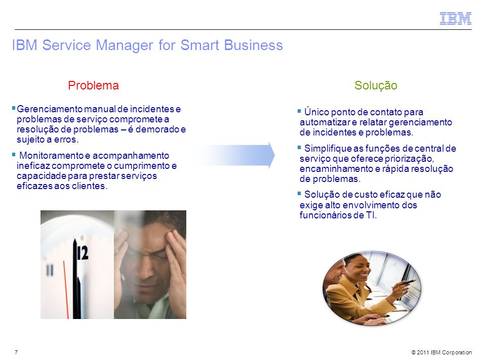 © 2011 IBM Corporation7 IBM Service Manager for Smart Business Gerenciamento manual de incidentes e problemas de serviço compromete a resolução de pro